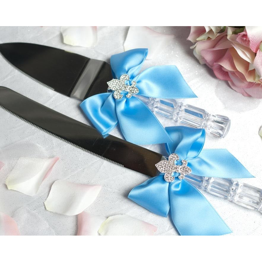 Crystal Fleur de Lis Ribbon Cake Server Set- Custom Colors!