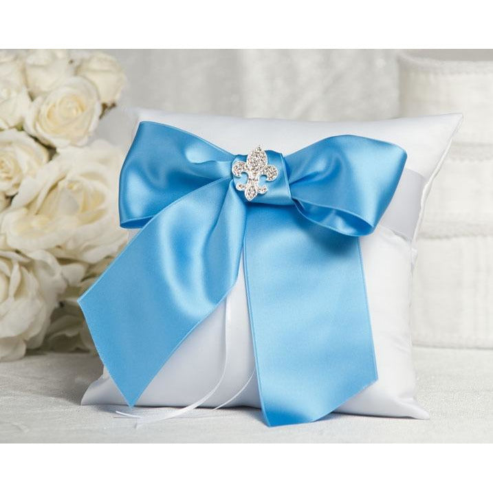 Crystal Fleur de Lis Ribbon Ring Pillow- Custom Colors!