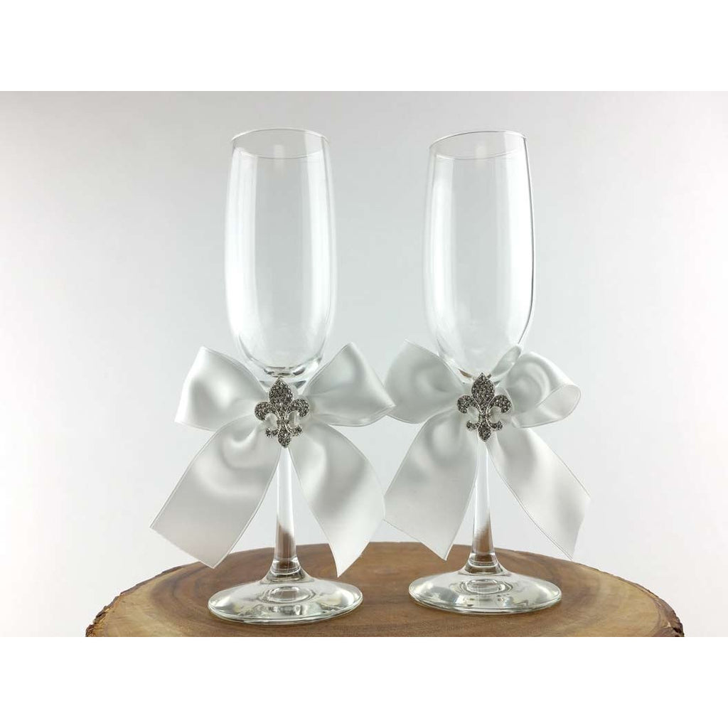 Crystal Fleur de Lis Ribbon Toasting Glasses- Custom Colors!