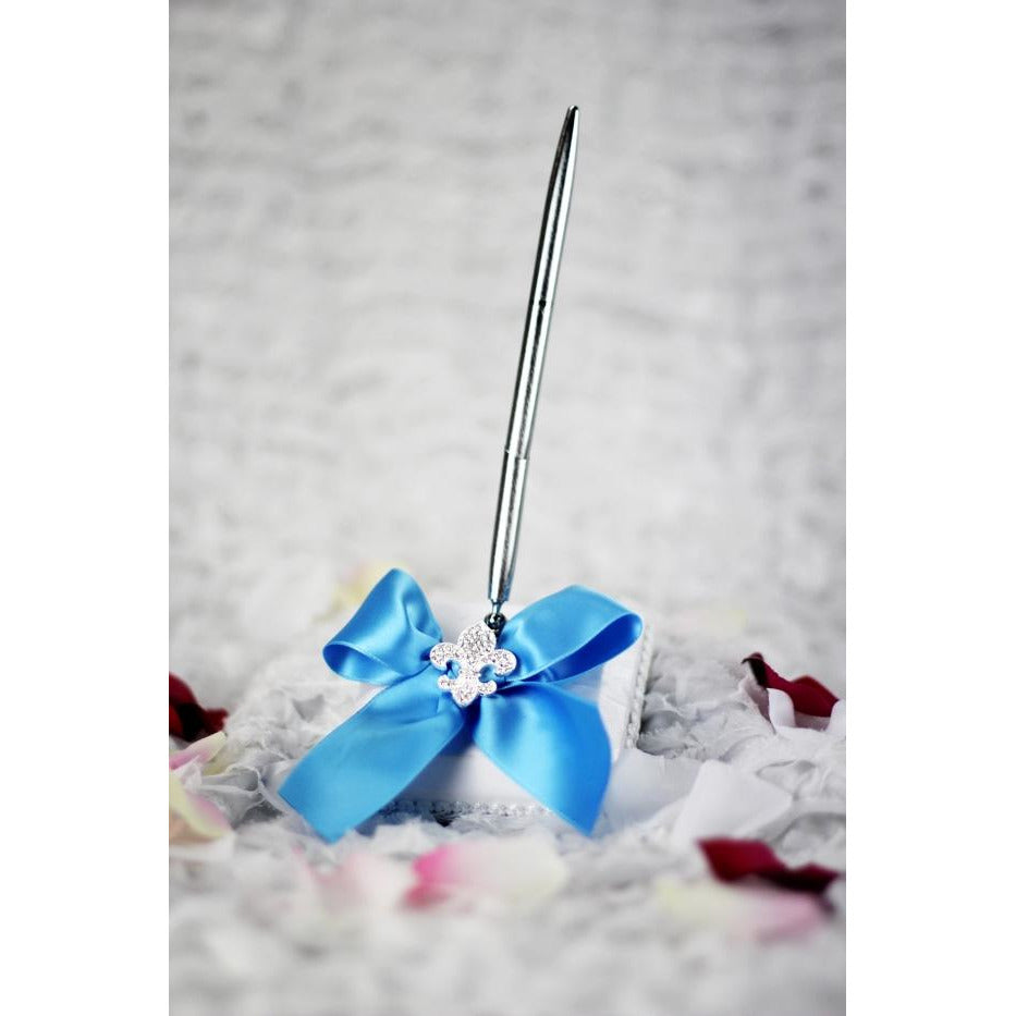 Crystal Fleur de Lis Ribbon Wedding Guestbook and Pen Set- Custom Colors!