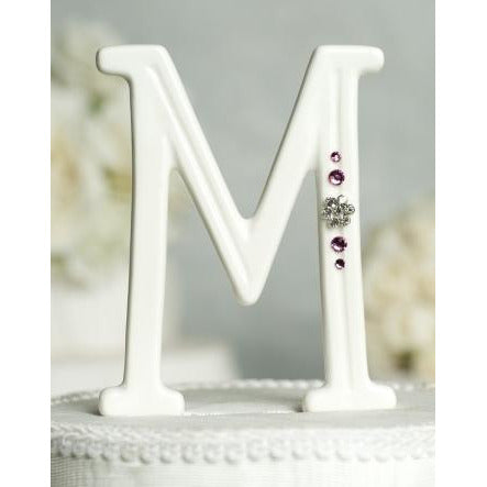 Crystal Florette Accented Porcelain Monogram Cake Topper - Custom Colors!