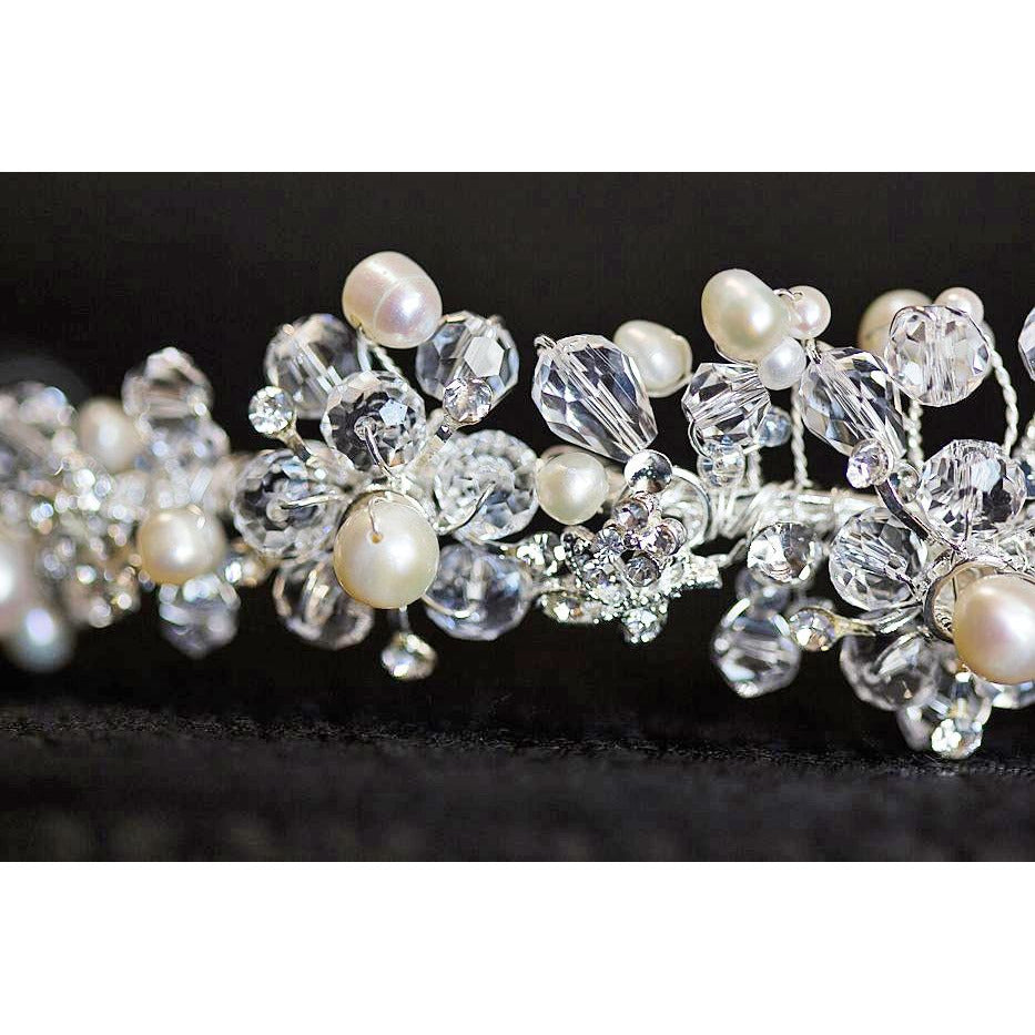 Crystal Flowers with Pearl Accent Headband