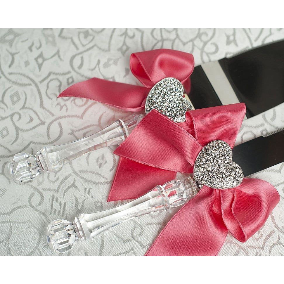Crystal Heart Ribbon Cake Server Set- Custom Colors!