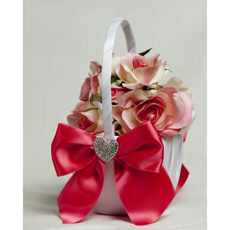 Crystal Heart Ribbon Flower Girl Basket - Custom Colors!
