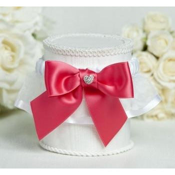 Crystal Heart Ribbon Garter - Custom Colors!