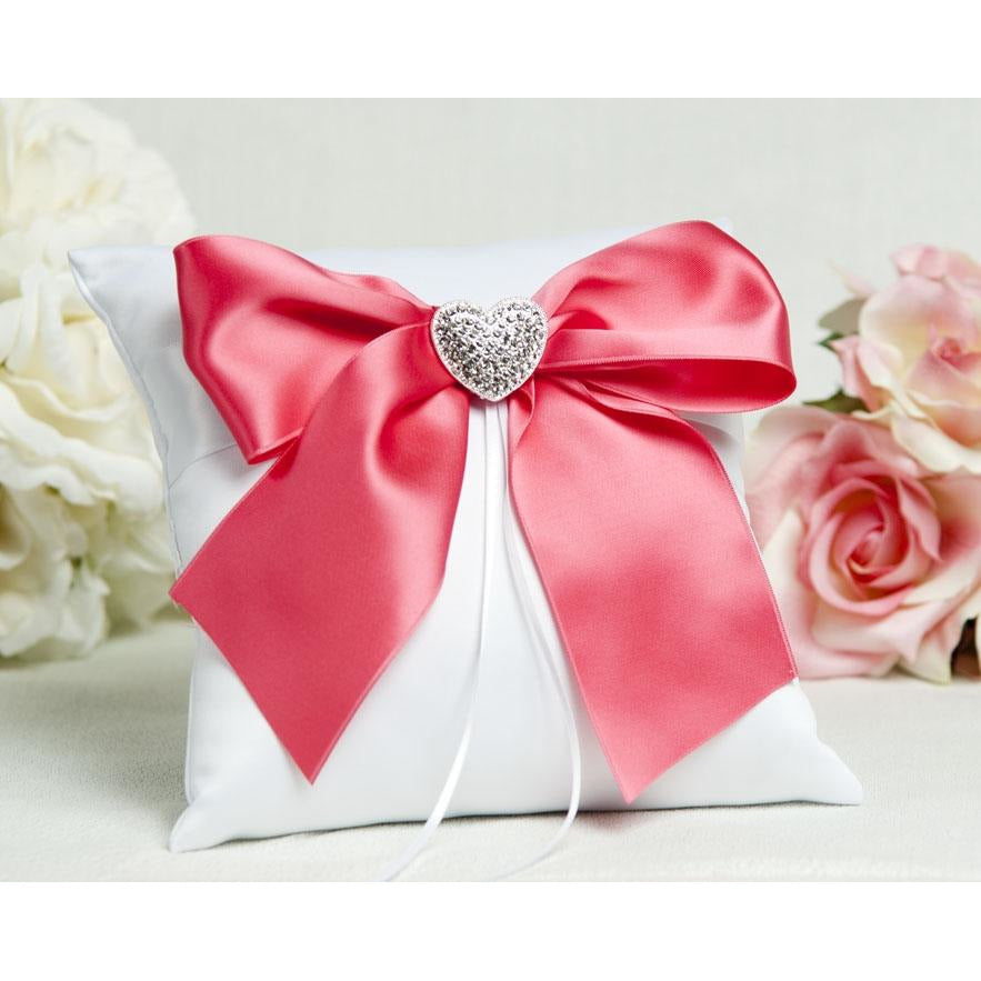 Crystal Heart Ribbon Ring Pillow- Custom Colors!