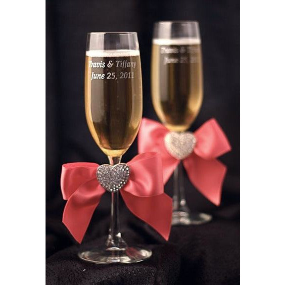 Crystal Heart Ribbon Toasting Glasses- Custom Colors!