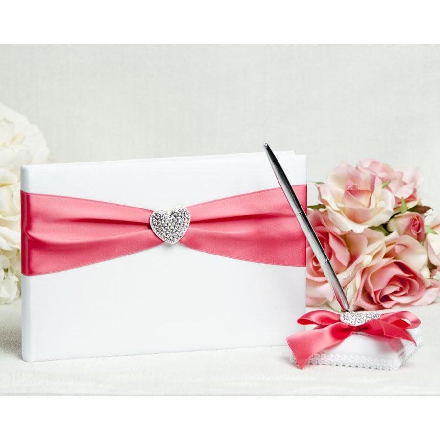 Crystal Heart Ribbon Wedding Guestbook and Pen Set- Custom Colors!