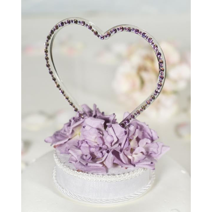 Crystal Heart Wedding Cake Topper- Custom Colors!