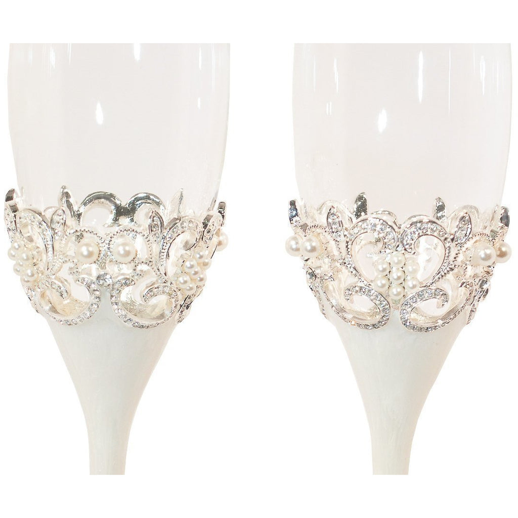 Crystal Pearl Champagne Toasting Flutes Set
