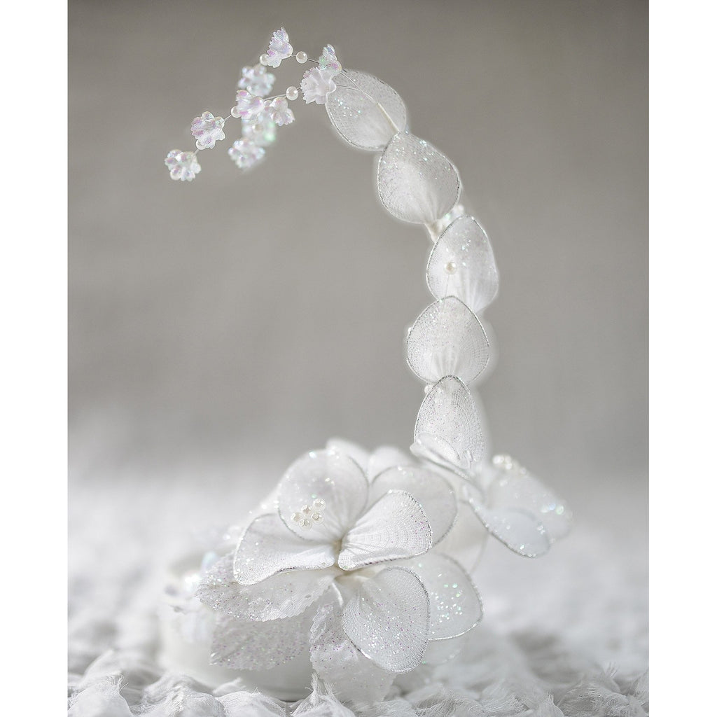 IVORY Vintage Glitter Flower Side Arch DIY Cake Topper Base