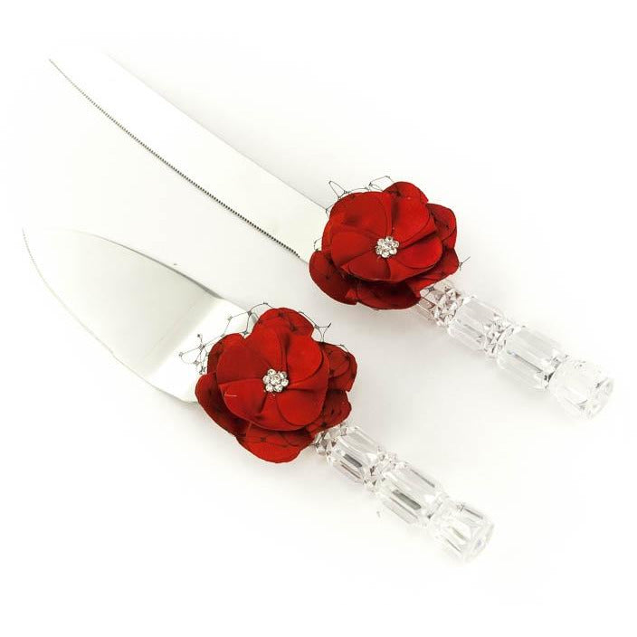 Red and Black Rose Wedding Cake Server Set