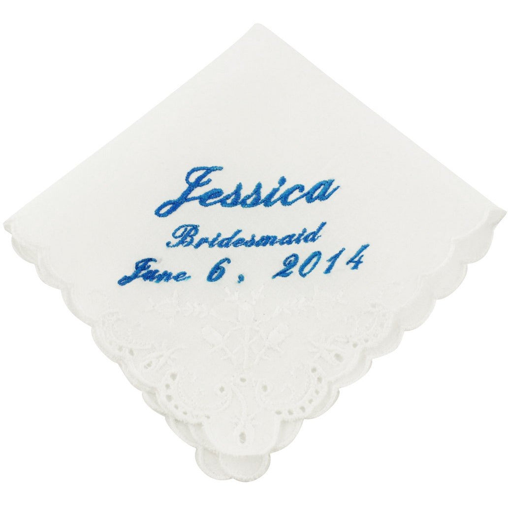 Bridesmaids Mother of Bride//Groom Doves Personalised Handkerchief Butterfly