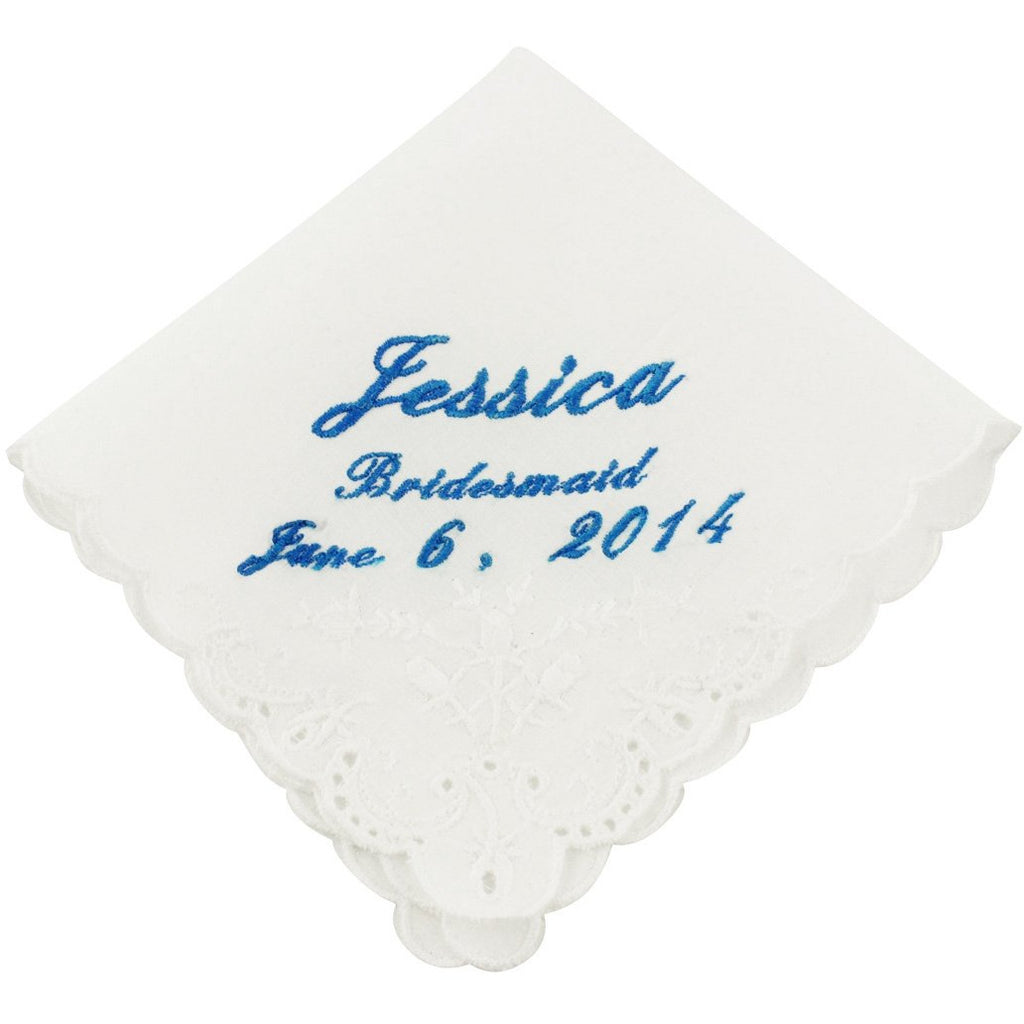Cursive Custom Bridesmaid Wedding Handkerchief