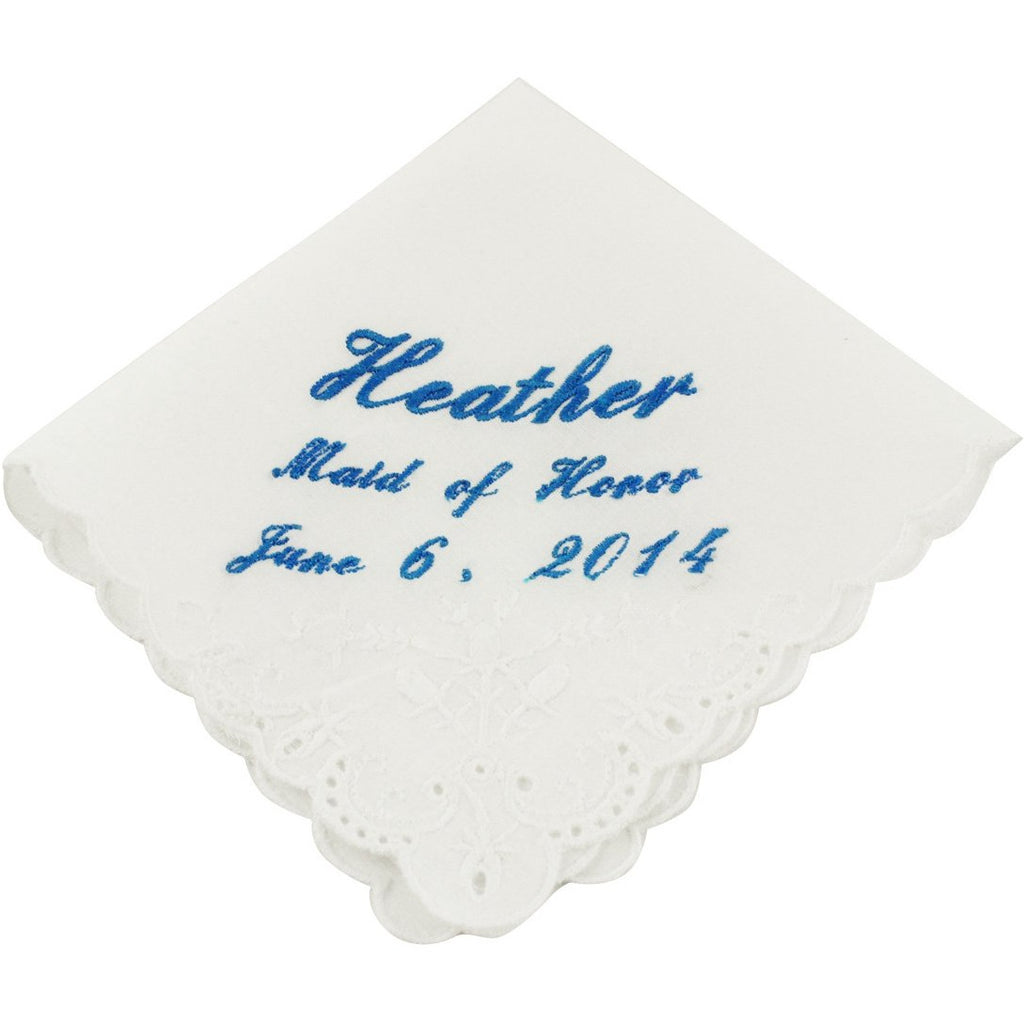 Cursive Custom Maid of Honor Wedding Handkerchief