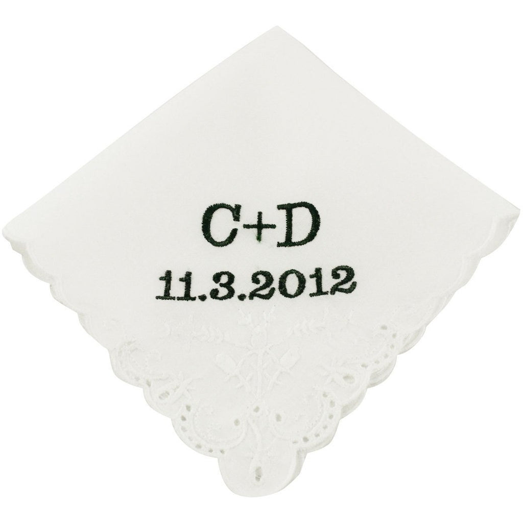 Block Monogram Wedding Handkerchief