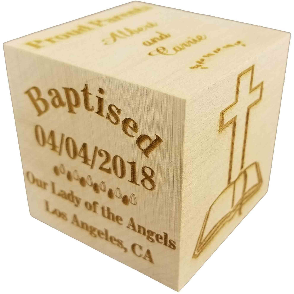 "Custom Engraved BIG Baby's Baptism Christening Dedication Block 2018 Wood Baby Block (2.5"")"