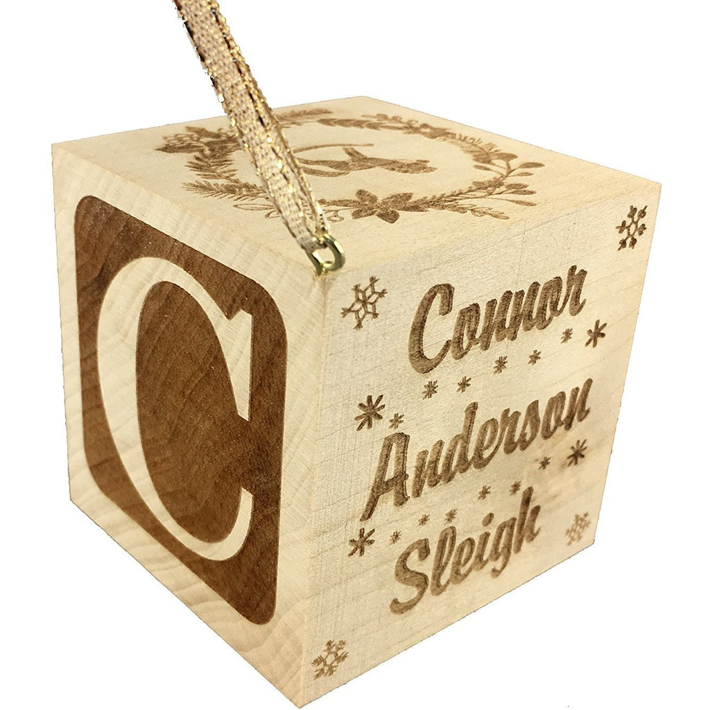 "Custom Engraved BIG Baby's First Christmas Ornament Wood Baby Block (2.5"")"
