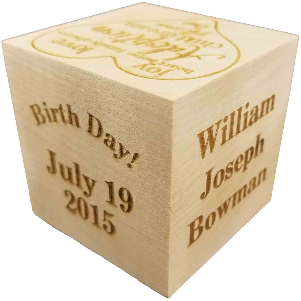 "Custom Engraved BIG Wood Baby Adoption Gotcha Day Birth Block (2.5"") Personalized Gift for your baby - Birth Adoption Announcement"