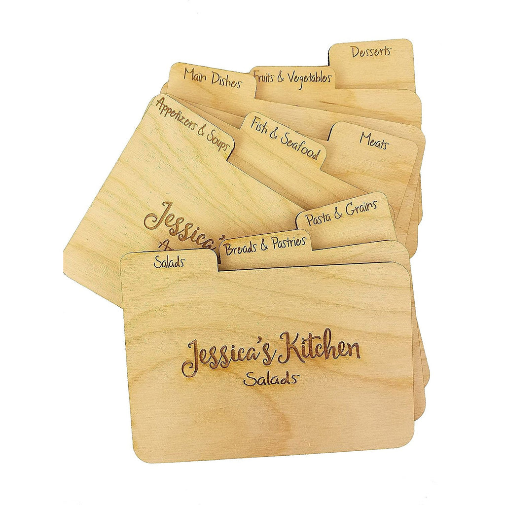 Custom Engraved Wood RECIPE DIVIDERS (Set of 9) with Tabs - Add Personalized Text to recipe dividers for Gift for the Cook in your life