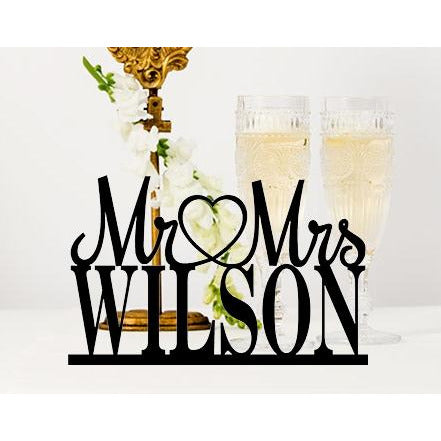 Custom Wedding Table Sign with Your Last Name - Wedding Cake Table Sign