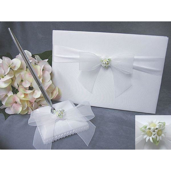 Daisy Bouquet Wedding Guestbook and Pen Set