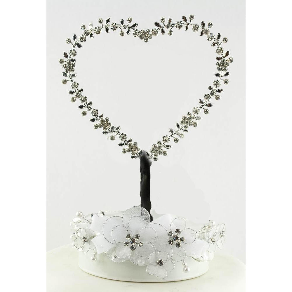 Rhinestone Heart Wedding Cake Topper Base