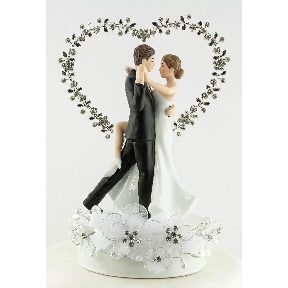 Dancing Bride and Groom Rhinestone Heart Wedding Cake Topper