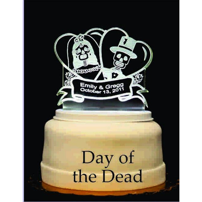 Day of the Dead Light-Up Wedding Cake Topper