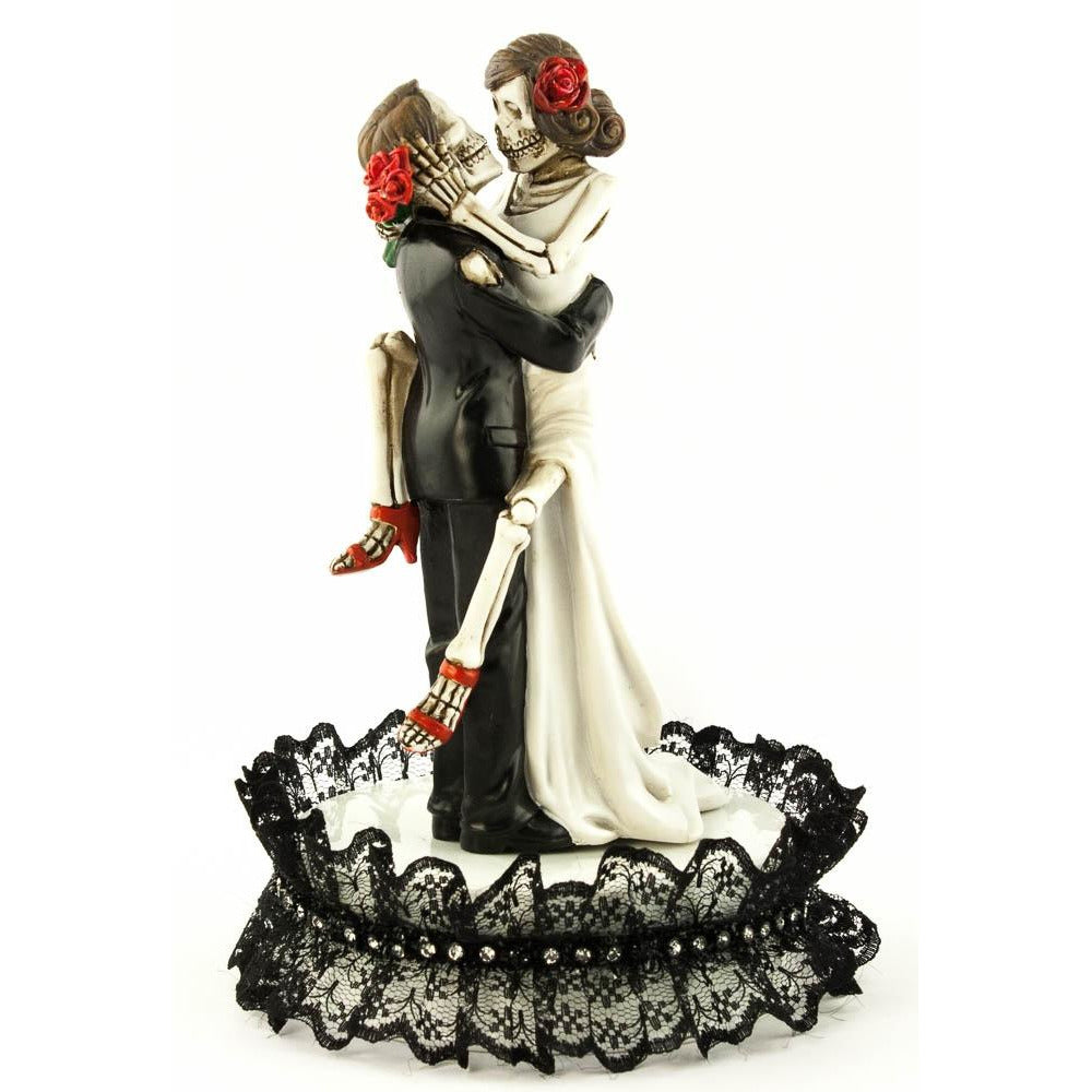 Black Lace Day of the Dead Sexy Skulls Wedding Cake Topper