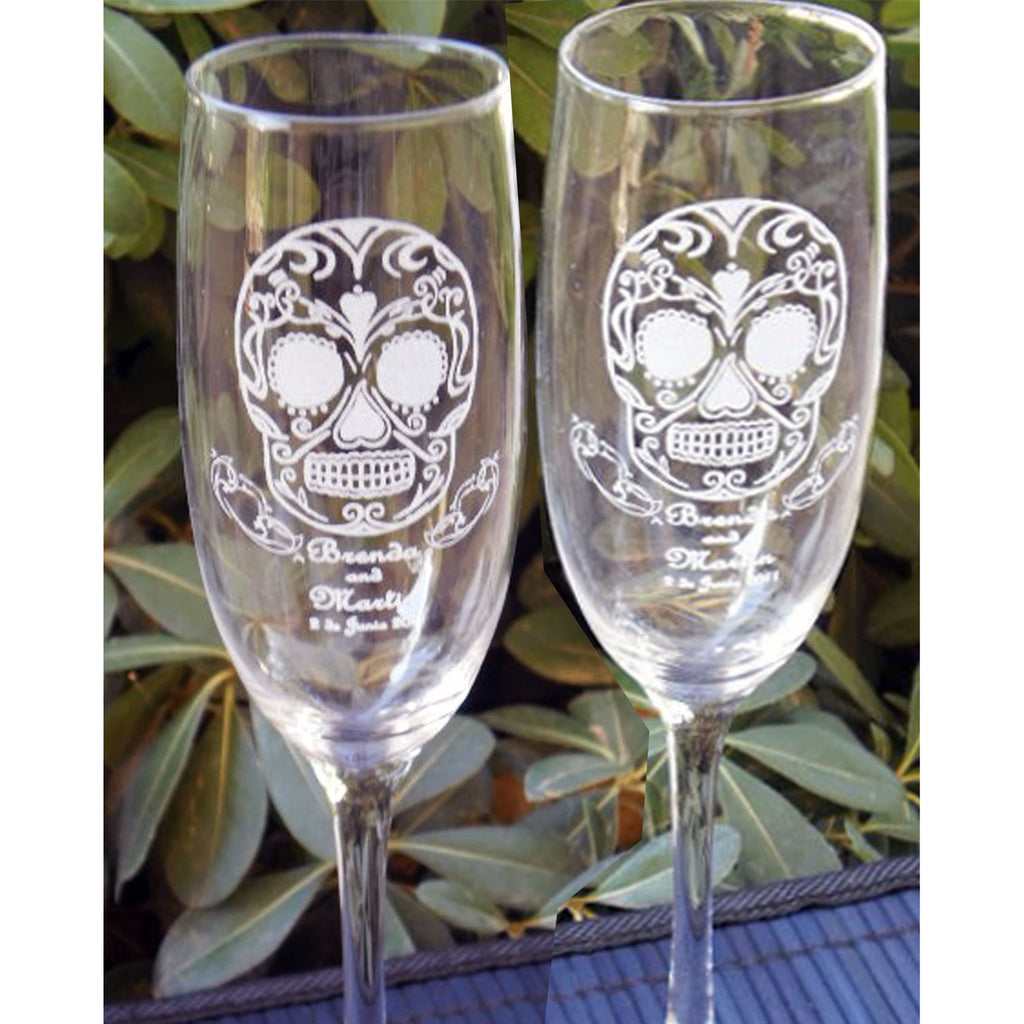 Sugar Skulls Toasting Wedding Champagne Glass Flutes (Pair)