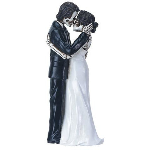 Day of the Dead Skulls Groom Kissing Bride Wedding Cake Topper