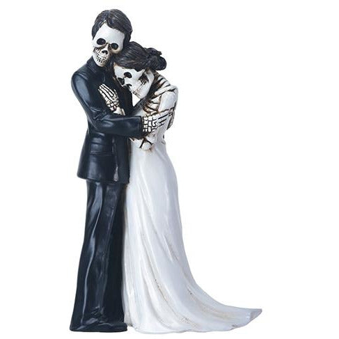 Day of the Dead Skulls Groom Embracing Bride Wedding Cake Topper