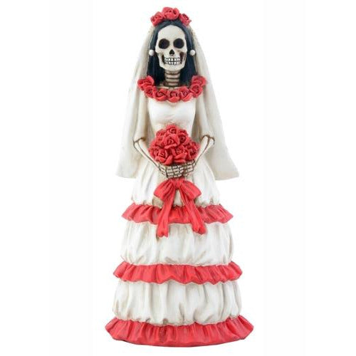 Day of the Dead Skulls Red Gothic Bride Wedding Cake Topper