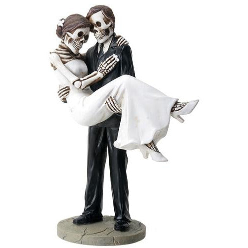 Day of the Dead Skulls Groom Holding Bride Wedding Cake Topper