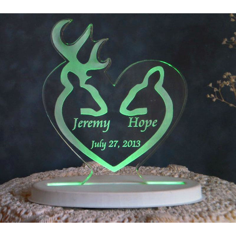 Deer Silhouette Light-Up Wedding Cake Topper