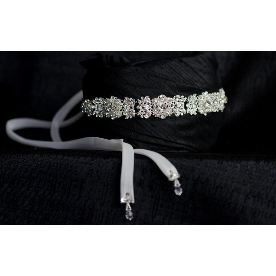 Delicate Crystal Filigree Scroll Ribbon Headband