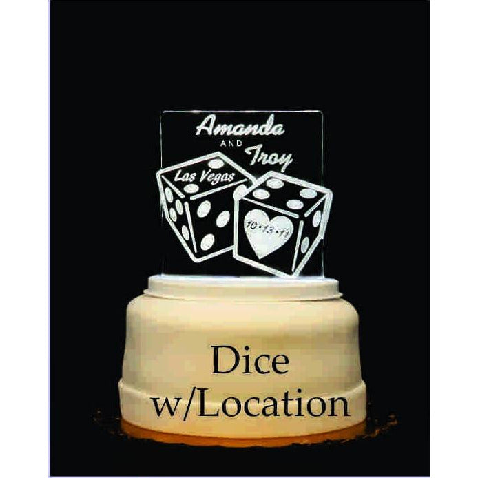 Dice Light-Up Wedding Cake Topper