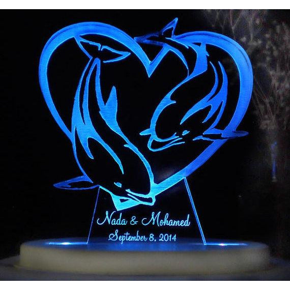 Dolphin Heart Light-Up Wedding Caketopper