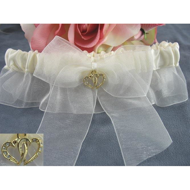 Double Rhinestone Hearts Wedding Garter