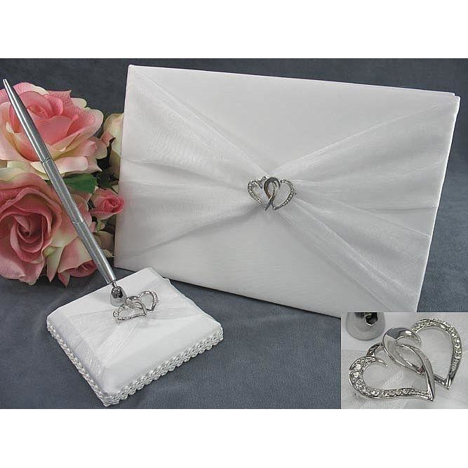 Double Rhinestone Hearts Wedding Guestbook and Pen Set