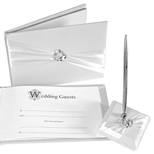 Double Rhinestone Rings Wedding Guestbook and Pen Set