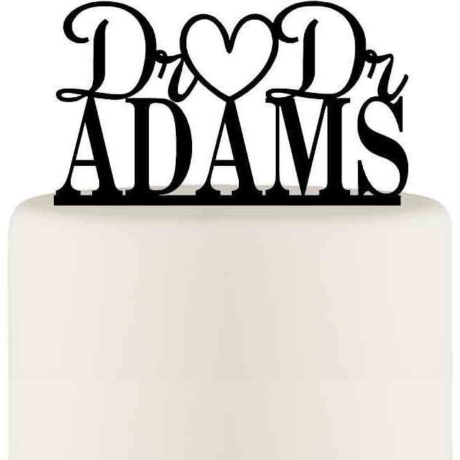 Dr and Dr Wedding Cake Topper Personalized with YOUR Last Name - Custom Cake Topper