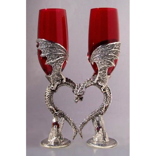 Dragon Heart Wing Wedding Toasting Glasses Set