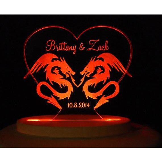 Dragon Love Light-Up Wedding Cake Topper