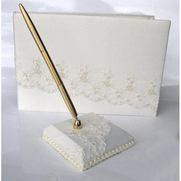 Dramatic Chocolate Embroidered Mantilla Lace Wedding Guestbook and Pen Set