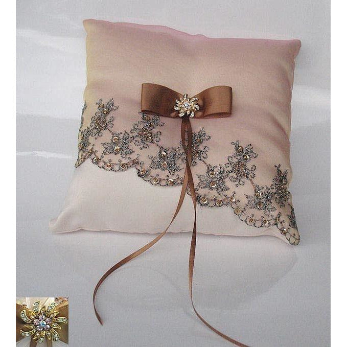 Dramatic Chocolate Embroidered Mantilla Lace Wedding Ring Bearer Pillow