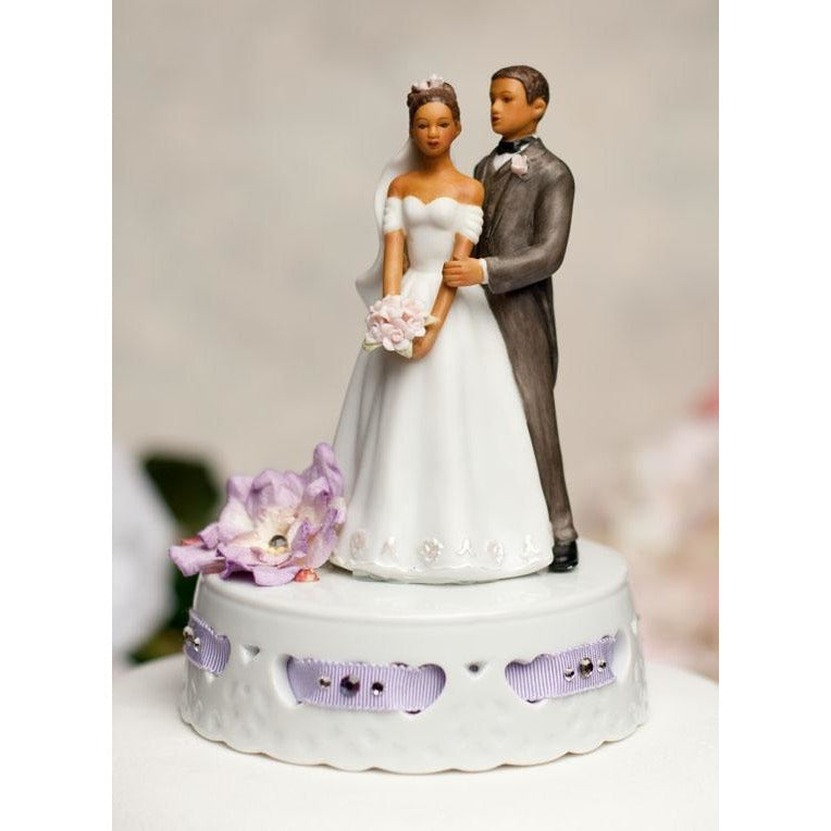 Elegant African American Ribbon Accent Cake Topper- Custom Colors!