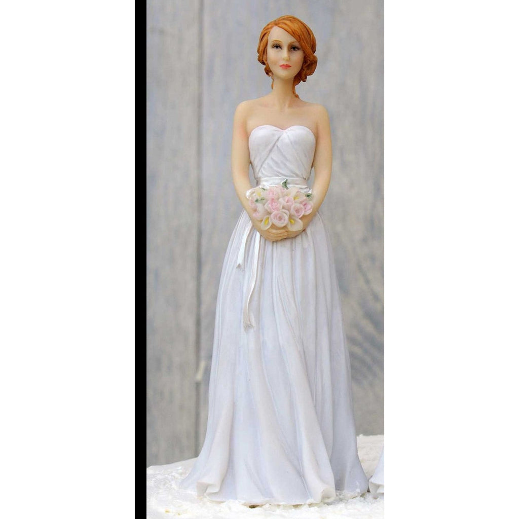 Elegant Caucasian Bride Wedding Cake Topper Mix & Match