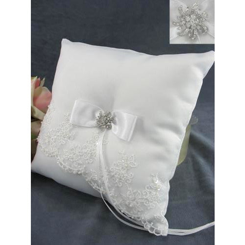 Elegant Embroidered Mantilla Lace Wedding Ring Bearer Pillow